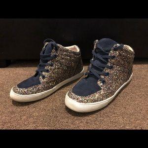 Crewcuts Glitter & Suede Navy sneakers